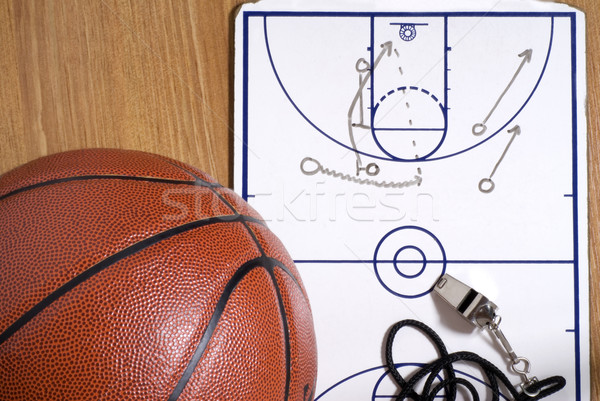 Basketball, Whistle and Clipboard with Alley-oop Play Stock photo © saje