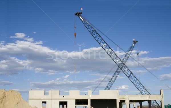 Construction Site Cranes, Building, Dirt Stock photo © saje