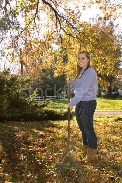 Bladeren meisje hark tienermeisje vallen gras Stockfoto © saje