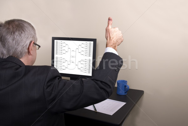 őrület üzletember remek néz számítógép monitor Stock fotó © saje