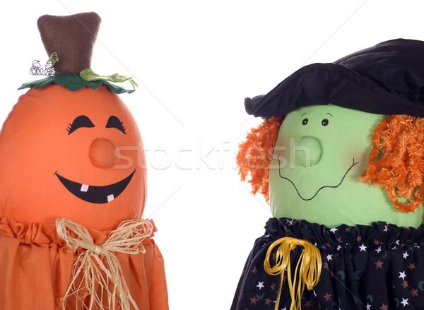 Halloween Zeichen sprechen zwei glücklich Stock foto © saje