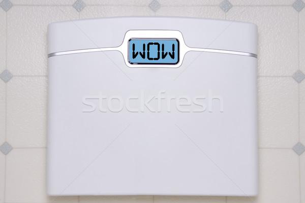Skali stóp wow biały cyfrowe waga łazienkowa Zdjęcia stock © saje