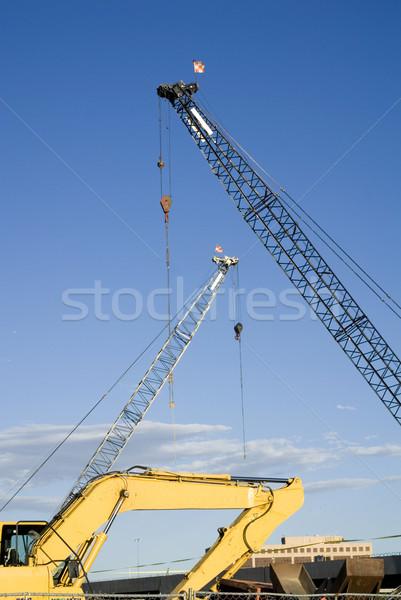 Construction Site Cranes and Backhoe Stock photo © saje