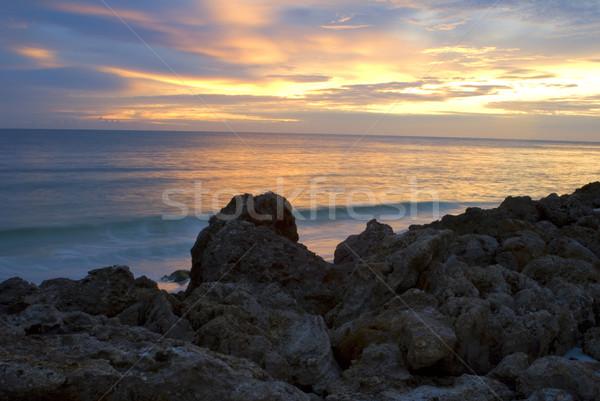 Rocky Shoreline at Sunset Stock photo © saje