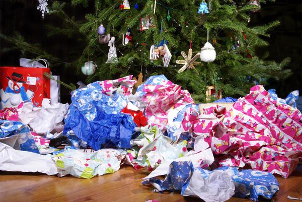 Christmas bałagan krajobraz papier pakowy choinka Zdjęcia stock © saje