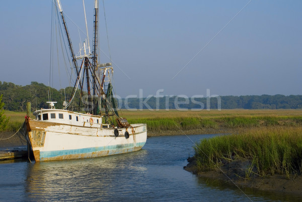 Old Shrimp Boat at Dock Stock photo © saje