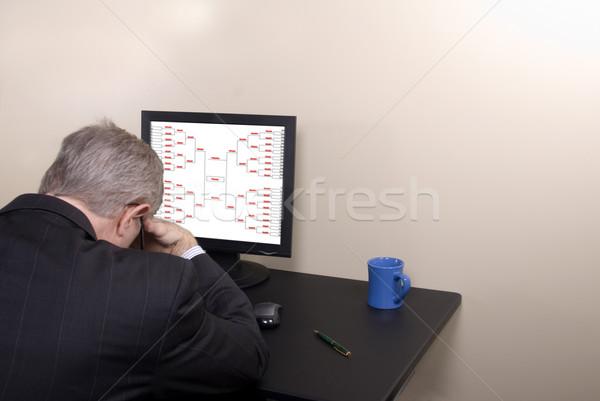 őrület üzletember fej lefelé számítógép monitor Stock fotó © saje