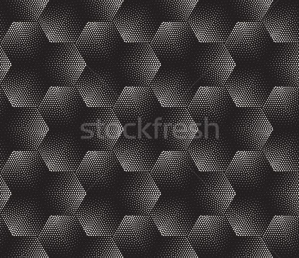 ベクトル シームレス 黒白 ハーフトーン 勾配 パターン ストックフォト © Samolevsky