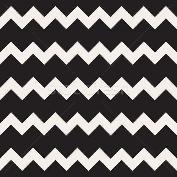 Stok fotoğraf: Vektör · siyah · beyaz · zikzak · yatay · hatları