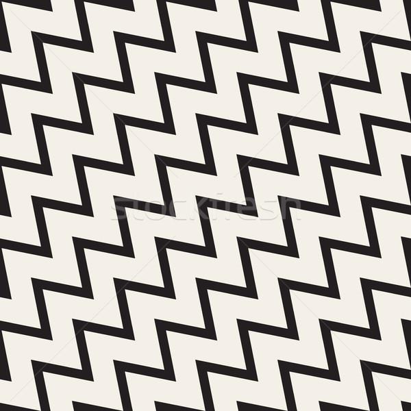 вектора бесшовный черно белые зигзаг диагональ линия Сток-фото © Samolevsky