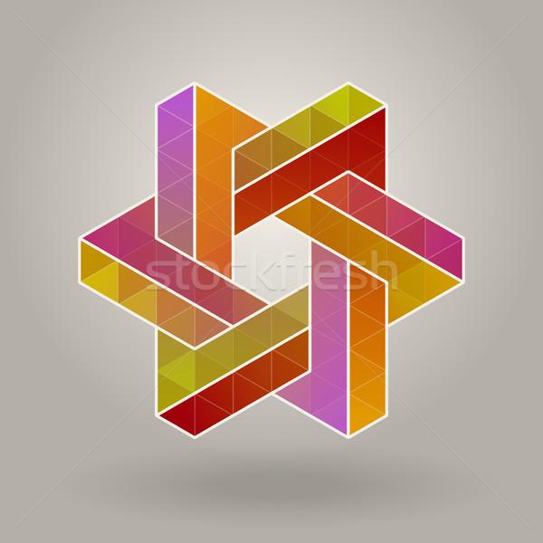 Abstract Vector Geometric Multicolor Hexagonal Star Shape Interlacing Polygons Logo Stock photo © Samolevsky