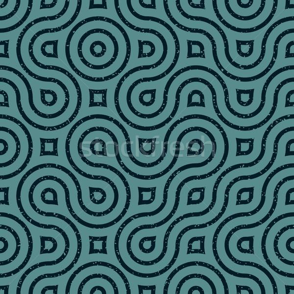 Vector Seamless Wavy Lines Irregular Retro Grungy Navy Blue Grunge Pattern Stock photo © Samolevsky