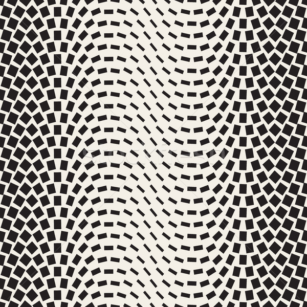 Halftone Gradient Mosaic Lattice. Vector Seamless Black and White Pattern. Stock photo © Samolevsky