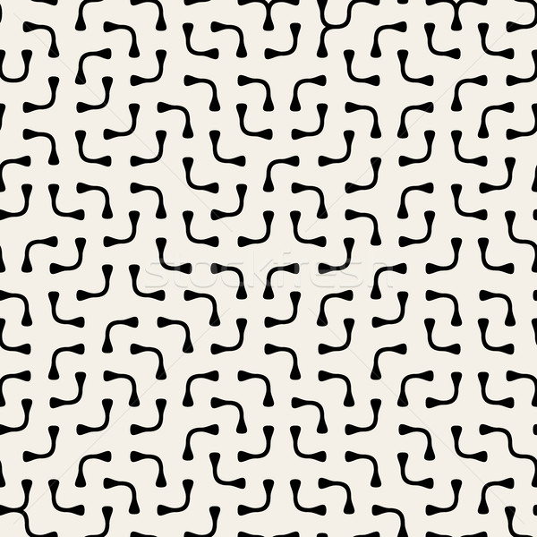 Jumble Rounded Lines. Vector Seamless Black and White Pattern. Stock photo © Samolevsky