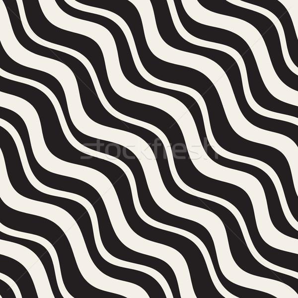Vektör siyah beyaz diyagonal dalgalı Stok fotoğraf © Samolevsky