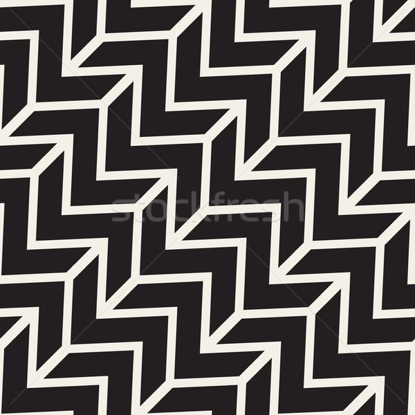 Vektor végtelenített feketefehér cikcakk átló vonalak Stock fotó © Samolevsky
