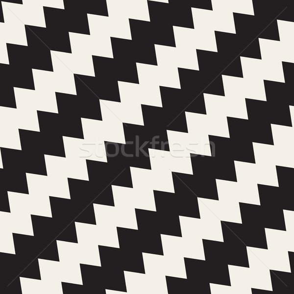 Vektör siyah beyaz zikzak diyagonal hatları Stok fotoğraf © Samolevsky