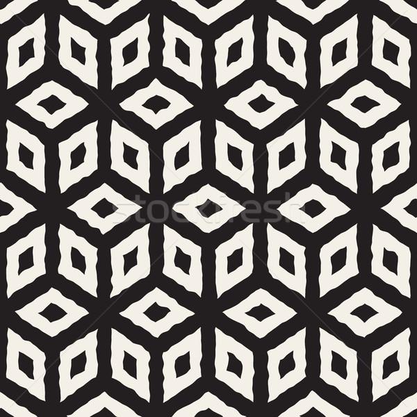 Vector Seamless Hand Painted Line Geometric Cube Pattern Stock photo © Samolevsky