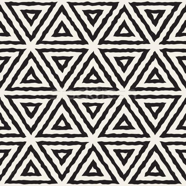 Vector Seamless Hand Painted Line Geometric Triangle Grid Pattern Stock photo © Samolevsky