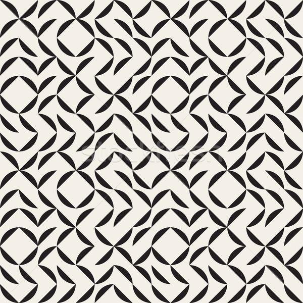Vector naadloos zwart wit boog grid geometrisch patroon Stockfoto © Samolevsky