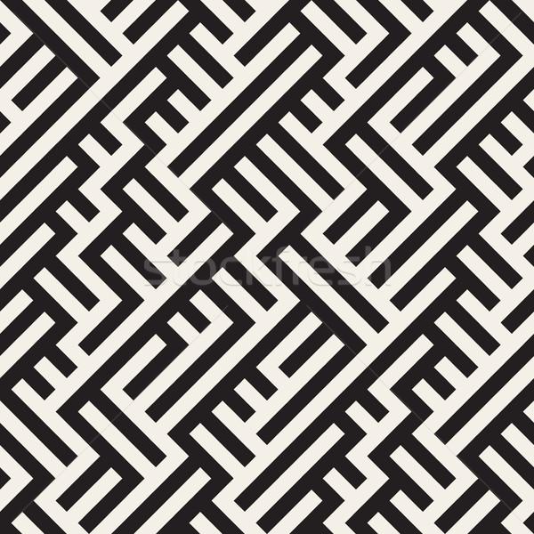 Labirintus vonalak vektor végtelenített feketefehér minta Stock fotó © Samolevsky