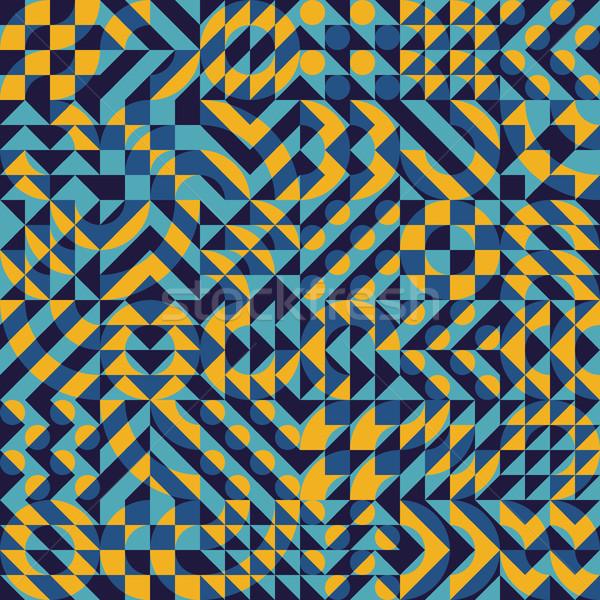 Vector Seamless Irregular Geometric Blocks Square Quilt Pattern Stock photo © Samolevsky