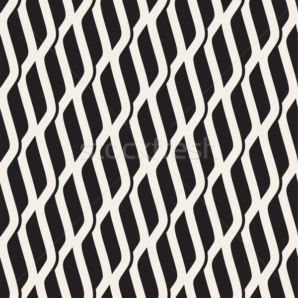 Vector Seamless Black and White Wavy Shapes Pattern Stock photo © Samolevsky