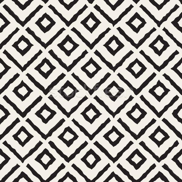 Vector Seamless  Hand Painted Line Corner Rhombus Shape Pattern Stock photo © Samolevsky