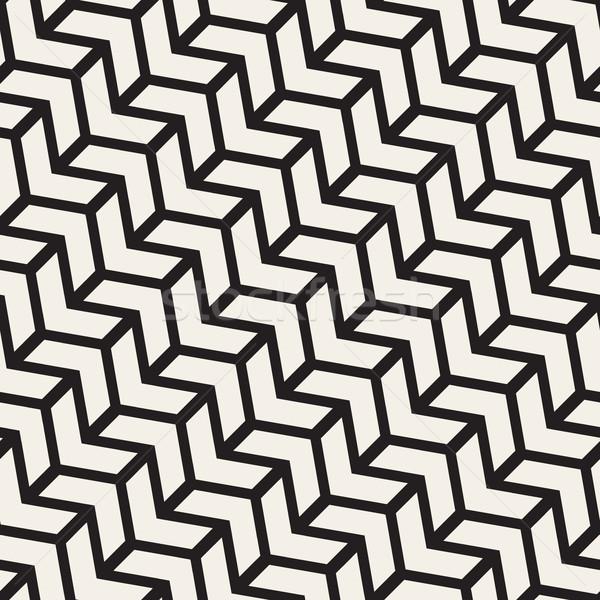 Vektor végtelenített feketefehér vonal geometrikus minta absztrakt Stock fotó © Samolevsky