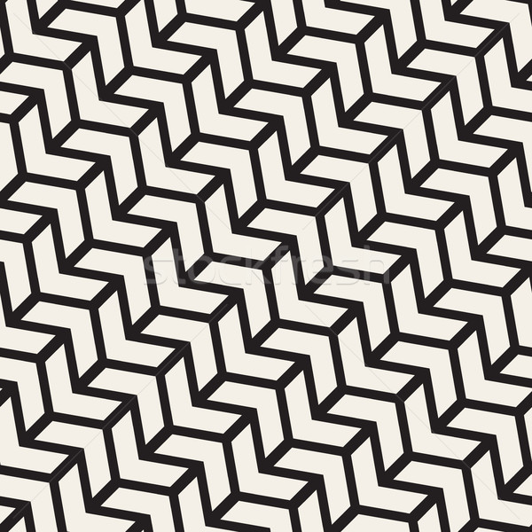 Vector Seamless Black And White Chevron Line Geometric Pattern Stock photo © Samolevsky