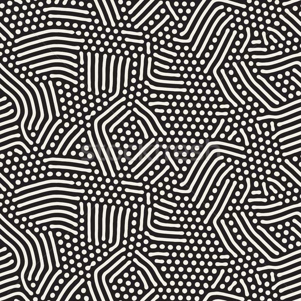 Organic Irregular Rounded Lines Vector Seamless Black and White Pattern Stock photo © Samolevsky