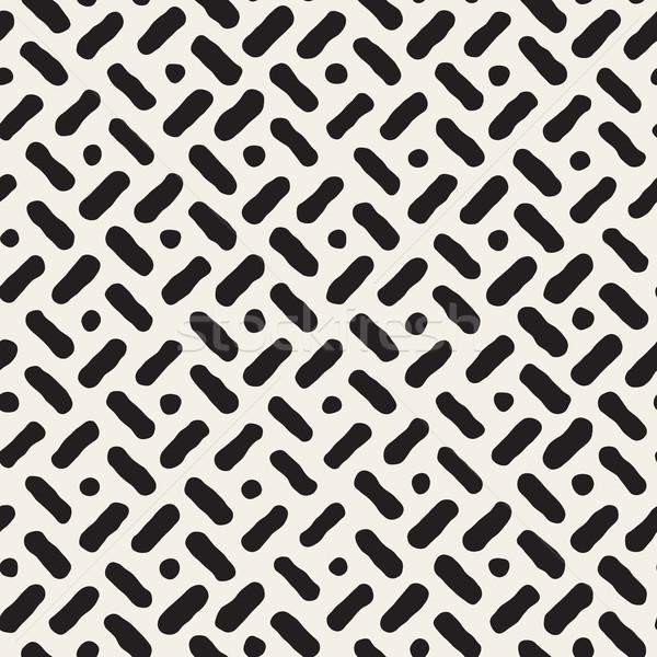 Vector Seamless Hand Drawn Diagonal Lines Circles Pattern Stock photo © Samolevsky