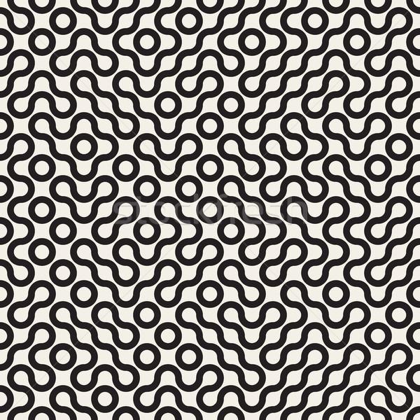 Vektör siyah beyaz hat geometrik labirent Stok fotoğraf © Samolevsky