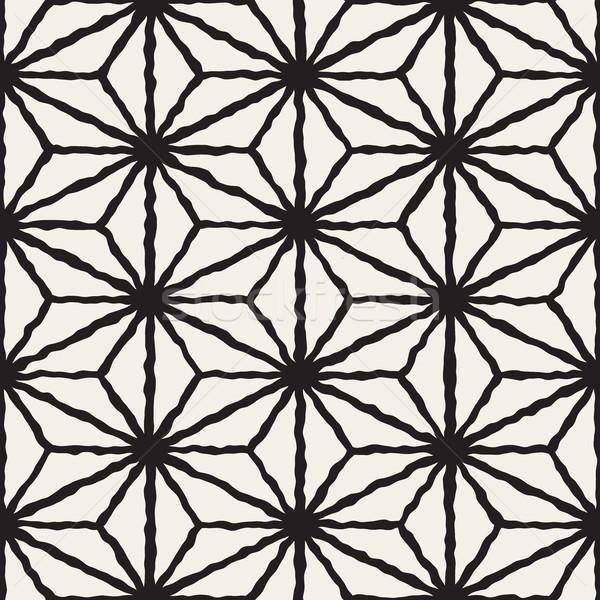 Vector Seamless Hand Painted Line Geometric Triangle Grid Star Pattern Stock photo © Samolevsky