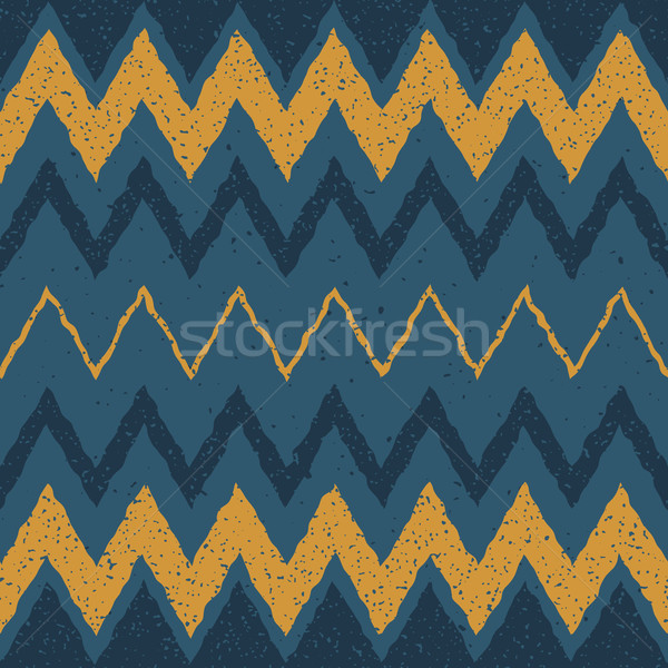 Vector Seamless Blue Yellow Color Hand Drawn Horizontal ZigZag Distorted Lines Grungy Ethnic Pattern Stock photo © Samolevsky