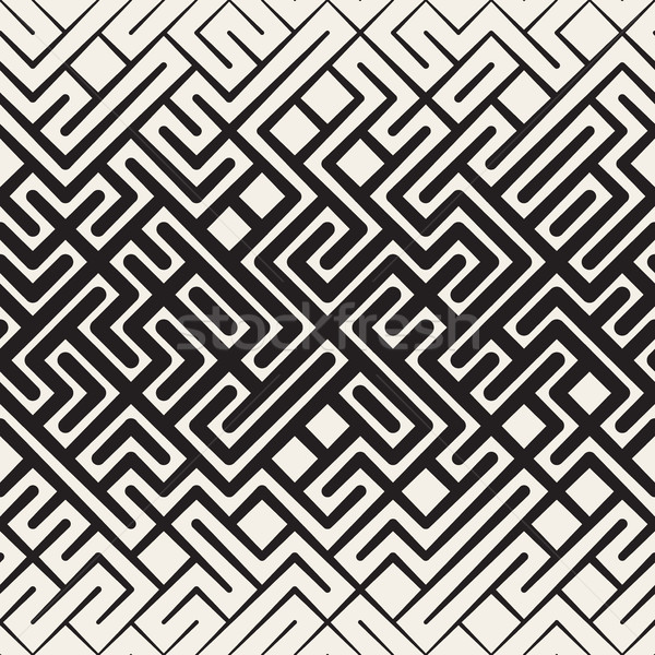 Vector Seamless Rounded Line Maze Irregular Pattern Halftone Gradient Stock photo © Samolevsky