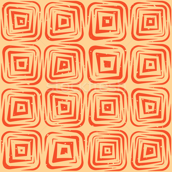 Vector Seamless Hand Drawn Geometric Lines Rounded Square Pattern Stock photo © Samolevsky