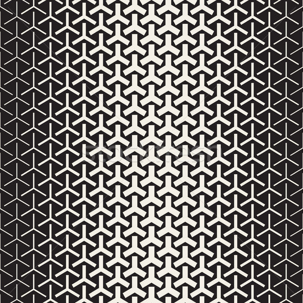 Triangular Shapes Halftone Lattice. Vector Seamless Black and White Pattern. Stock photo © Samolevsky