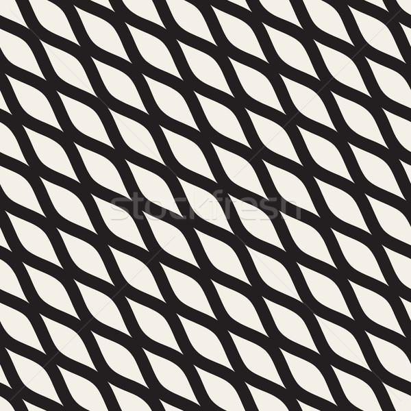 Vector Seamless Black and White Hand Drawn Diagonal Wavy Shapes Pattern Stock photo © Samolevsky