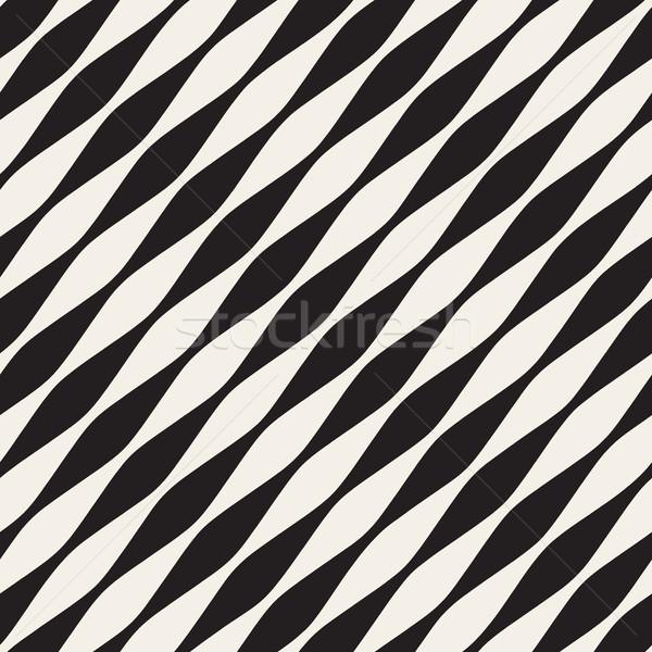 Vector sin costura blanco negro diagonal ondulado líneas Foto stock © Samolevsky