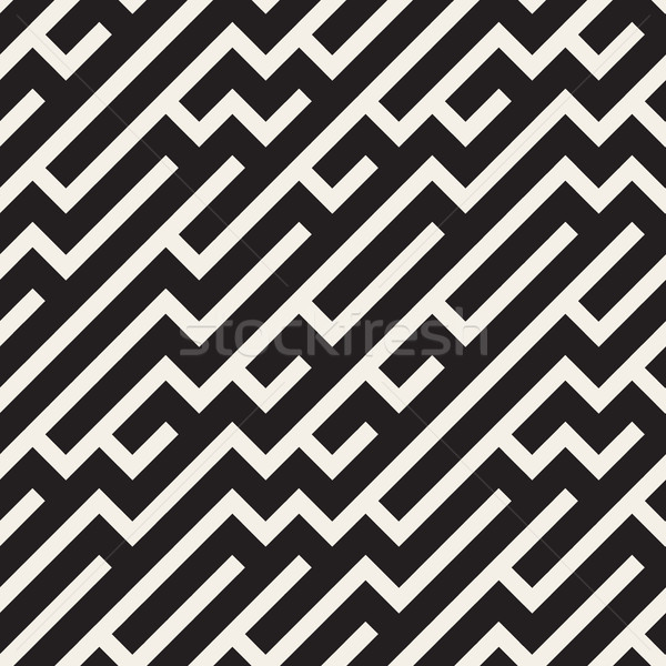 Irregular Maze Lines. Vector Seamless Black and White Pattern. Stock photo © Samolevsky