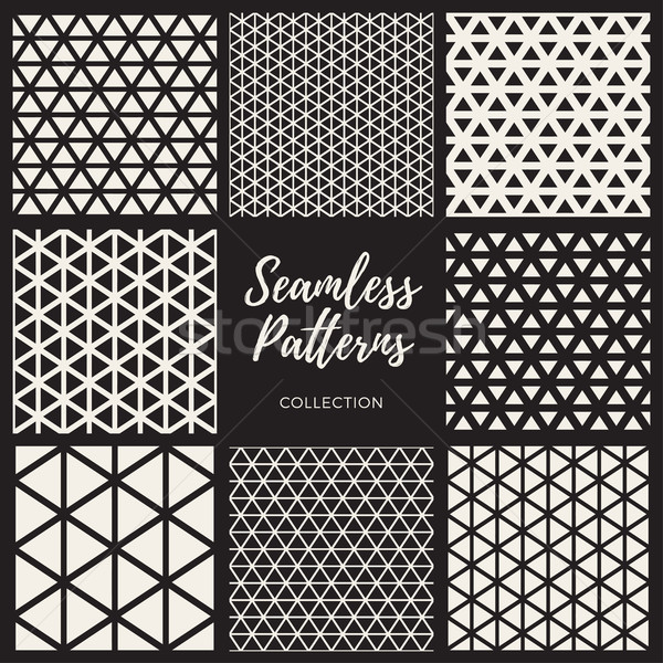 Vector Seamless Triangle Lines Pattern Collection Stock photo © Samolevsky