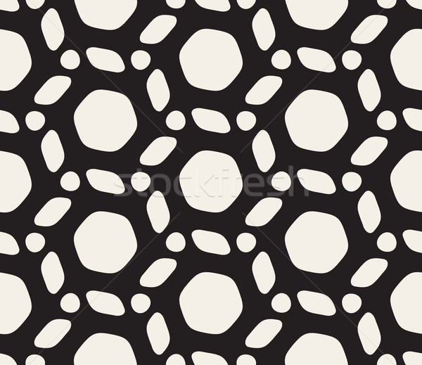 Vector Seamless Black and White Rounded Lines Pattern Stock photo © Samolevsky