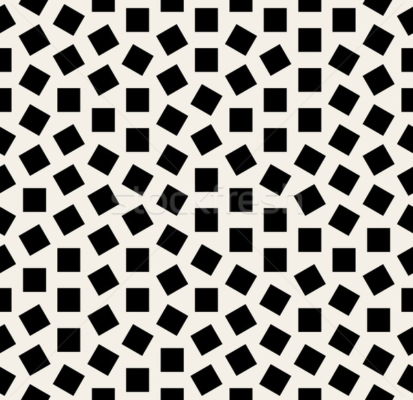 Vector Seamless Black And White Jumble Squares Rotation Pattern Stock photo © Samolevsky