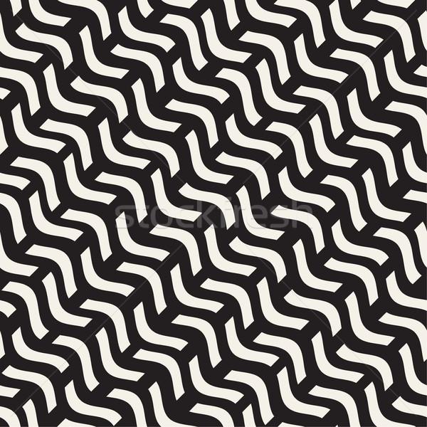 рисованной волнистый линия монохромный текстуры вектора Сток-фото © Samolevsky