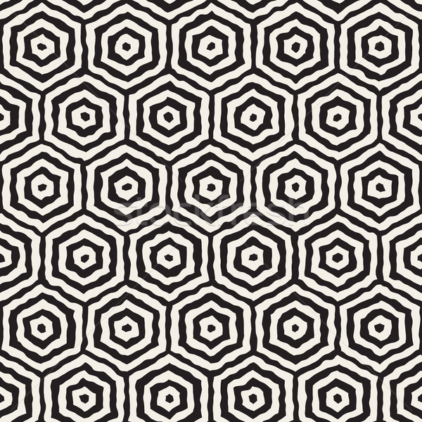 Vector Seamless Hand Painted Concentric Hexagon Line Geometric HoneyComb Pattern Stock photo © Samolevsky