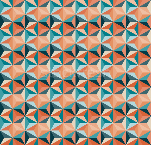Vector Seamless Geometric Triangle Tiling Pattern in Teal And Orange Colours Stock photo © Samolevsky