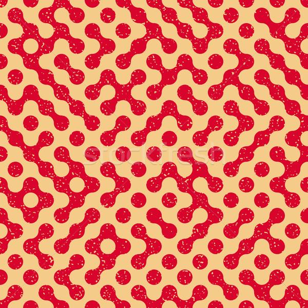 Vector Seamless Wavy Truchet Irregular Retro Grungy Red Tan Pattern Stock photo © Samolevsky