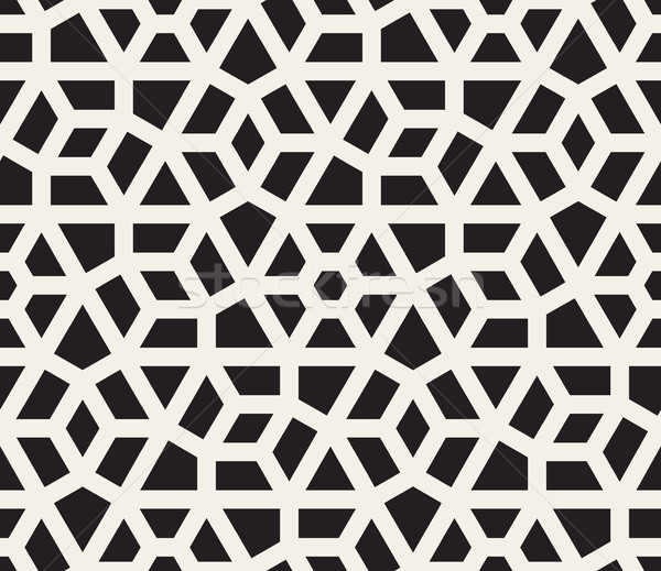 Vector Seamless Black And White Hexagonal Geometric Grid Pattern Stock photo © Samolevsky