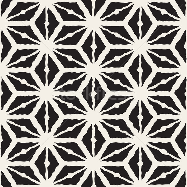 Vector Seamless Hand Painted Line Geometric Triangle Rhombus Grid Pattern Stock photo © Samolevsky